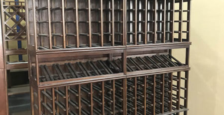 Australian built in oak wine racks